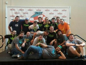 Here is a big portion of our group this year. These guys were still working hard loading trucks late Sunday night when we grabbed this photo on the Gen Con announcement stage.