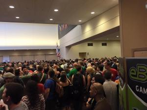 Want to know exactly how busy Gen Con 2015 was? Here is what it looks like outside of our room every single morning before the Exhibit Hall opens.